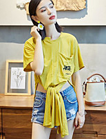Women's Casual/Daily Simple Summer T-shirt,Solid Letter Round Neck Short Sleeves Cotton