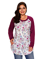 Women's Going out Casual/Daily Cute Fall T-shirt,Print Round Neck Long Sleeves Polyester Spandex Medium