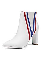 Femme Chaussures Cuir Hiver Nouveauté Bottes à la Mode Bottes Gros Talon Bout pointu Bottes Mi-mollet Pour Mariage Soirée & Evénement