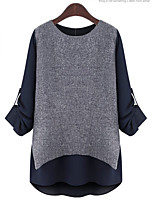 Women's Casual/Daily Active Fall T-shirt,Solid Geometric Round Neck Long Sleeves Acrylic Polyester Thin