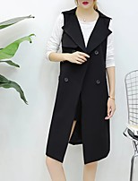 Women's Going out Casual/Daily Simple Street chic Punk & Gothic Spring Fall Vest,Solid Notch Lapel Sleeveless Long Cotton Others