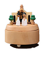 Music Box Toys Circular Horse Carousel Cartoon Wooden Wood 1 Pieces Not Specified Birthday Gift
