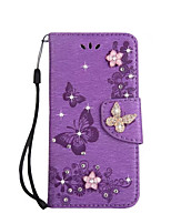 For Case Cover Card Holder Wallet Rhinestone with Stand Flip Full Body Case Solid Color Butterfly Hard PU Leather for Samsung A3(2017)