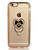 Per iPhone 6 iPhone 6 Plus Custodie cover Placcato Supporto ad anello Transparente Custodia posteriore Custodia Con cuori Morbido TPU per