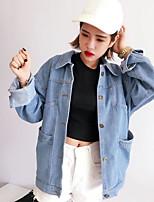 Women's Casual/Daily Street chic Fall Denim Jacket,Print Shirt Collar Long Sleeve Regular Others