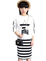 Girls' Stripes Geometric Others Sets,Cotton Polyester Spring Fall Long Sleeve Clothing Set