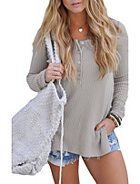 Women's Going out Casual/Daily Sexy Simple Shirt,Solid Round Neck Short Sleeves Polyester