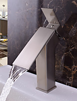 Contemporary Deck Mounted Waterfall with  Ceramic Valve Single Handle One Hole for  Nickel Brushed , Bathroom Sink Faucet
