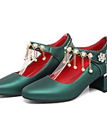 Women's Shoes PU Fall Winter Comfort Novelty Heels Chunky Heel Pointed Toe Rivet For Office & Career Party & Evening Blushing Pink Green