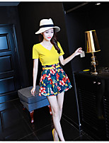 Women's Casual/Daily Simple Summer T-shirt Pant Suits,Floral V Neck Short Sleeve