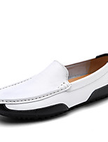 Men's Shoes Cowhide Leather Spring Fall Comfort Loafers & Slip-Ons Split Joint For Casual Party & Evening Black/White Brown Yellow
