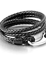 Муж. Кожаные браслеты Браслет Бижутерия Простой стиль Многослойный Кожа Титановая сталь Геометрической формы Бижутерия Назначение