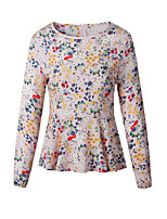 Women's Casual/Daily Work Vintage Simple Spring Fall Shirt,Floral Round Neck Long Sleeves Polyester Thin