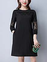 Women's Plus Size Going out Street chic Loose Dress,Solid Round Neck Above Knee 3/4 Length Sleeves Polyester Fall High Rise Inelastic