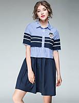 Damen A-Linie Lose Hülle Kleid-Ausgehen Lässig/Alltäglich Einfach Street Schick Anspruchsvoll Gestreift Hemdkragen Übers Knie Kurzarm