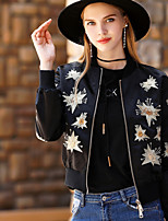 BLUEOXY Women's Going out Casual/Daily Simple Fall Winter Jacket,Solid Round Neck Long Sleeve Regular Polyester Embroidered