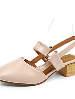 Women's Shoes PU Summer Comfort Heels Low Heel Round Toe Split Joint For Casual Blushing Pink Beige