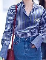Camicia Da donna Casual Semplice A strisce Colletto alla coreana Altro Manica lunga
