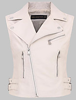 Women's Going out Casual/Daily Simple Street chic Spring Fall Leather Jacket,Solid Shirt Collar Sleeveless Regular Others