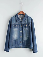Women's Going out Casual/Daily Simple Vintage Spring Fall Denim Jacket,Solid Print Shirt Collar Long Sleeve Regular Others Embroidered