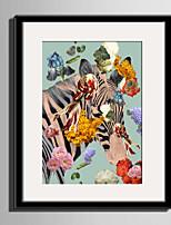 E-HOME® Framed Canvas Art Zebras And Flowers Framed Canvas Print One Pcs