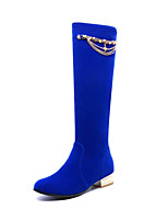 Femme Chaussures Cuir Nubuck Automne Hiver Confort Bottes à la Mode Bottes Talon Plat Bout rond Bottes Mi-mollet Rivet Pour Habillé Noir