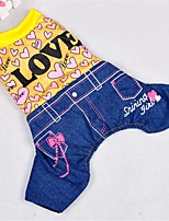 Dog Clothes/Jumpsuit Dog Clothes Casual/Daily Hearts Yellow Red