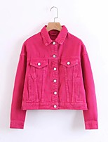 Women's Going out Casual/Daily Simple Spring Fall Denim Jacket,Solid Shirt Collar Long Sleeve Regular Others