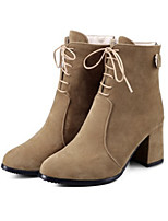 Women's Shoes Suede Fall Winter Comfort Novelty Fashion Boots Bootie Boots Chunky Heel Pointed Toe Booties/Ankle Boots Beading Lace-up For