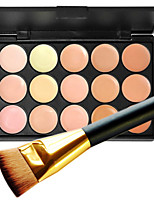 1Pc 15 Color Pro Natural Contour Face Cream Facial Concealer Makeup Cosmetic Palette & 1 Flat Contour Concealer Brush