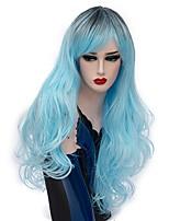 Donna Parrucche sintetiche Senza tappo Lungo Onda riccia Azzurro chiaro Capelli schiariti Parrucca di Halloween costumi parrucche