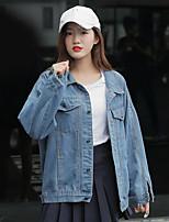 Veste en jean Femme,Imprimé Décontracté / Quotidien simple Automne Manches longues Col de Chemise Normal Coton