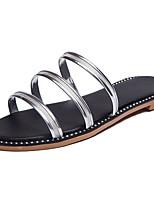 Women's Shoes PU Summer Comfort Slippers & Flip-Flops Flat Heel Round Toe For Dress Silver Gold