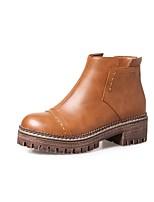 Feminino Sapatos Couro Ecológico Outono Inverno Conforto Botas Salto Grosso Ponta Redonda Ziper Para Preto Marron Khaki