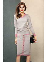 Women's Going out Cute Fall T-shirt Skirt Suits,Color Block V Neck Long Sleeve Micro-elastic