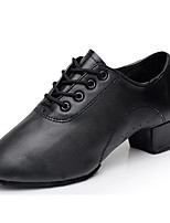 Men's Latin Leatherette Heel Performance Low Heel Black Customizable