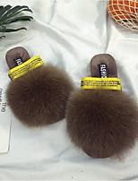 Women's Shoes Fur Velvet Fall Winter Fur Lining Comfort Slippers & Flip-Flops Flat Heel Round Toe Closed Toe Bowknot For Casual Dress