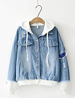 Women's Going out Casual/Daily Simple Spring Fall Denim Jacket,Color Block Hooded Long Sleeve Regular Cotton Others