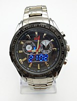 Men's Sport Watch Wrist watch Unique Creative Watch Chinese Digital Calendar Noctilucent Large Dial Stainless Steel Band Cool Silver