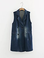 Women's Going out Casual/Daily Simple Active Street chic Spring Fall Vest,Solid Notch Lapel Sleeveless Regular Others