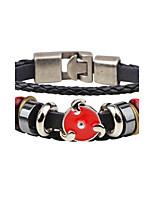 Homme Bracelets en cuir Mode Personnalisé Cuir Alliage Forme de Cercle Bijoux Pour Décontracté Sortie