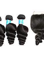 Remy Malaysian One Pack Solution Loose Wave Hair Extensions Four-piece Suit Black