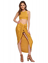 Women's Holiday Casual/Daily Sexy Street chic Summer Fall Tank Top Skirt Suits,Solid Round Neck Sleeveless