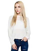 Women's Going out Casual/Daily Simple Street chic Short PulloverSolid Round Neck Long Sleeves Cotton Fall Winter Thin Micro-elastic