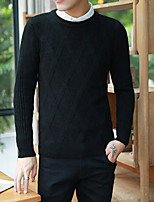 Men's Casual/Daily Regular Cardigan,Solid Round Neck Long Sleeves Cotton Fall Thick Micro-elastic