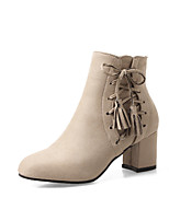 Women's Shoes Nubuck leather Leatherette Fall Winter Fashion Boots Boots Chunky Heel Round Toe Booties/Ankle Boots Zipper Lace-up Tassel