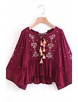 Для женщин На выход На каждый день Весна Осень Рубашка V-образный вырез,Секси Простое Уличный стиль Однотонный Вышивка Длинный рукав,