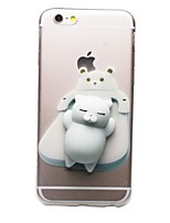abordables -Coque Pour Apple iPhone 7 Plus iPhone 7 Transparente Motif Squishy A Faire Soi-Même Coque Chat Dessin Animé 3D Flexible TPU pour iPhone 7