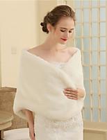 Women's Wrap Shawls Faux Fur Wedding Party/ Evening Buttons Fur