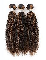 economico -3 pezzi Nero / Marrone chiaro Riccio Peruviano Tessiture capelli umani Extensions per capelli